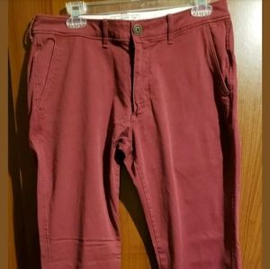Men's ABERCROMBIE AND FITCH Maroon Khakis 32×30